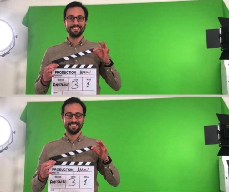 Antonin au studio de tournage